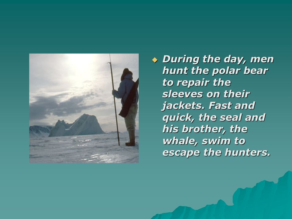 During the day, men hunt the polar bear to repair the sleeves on their jackets.