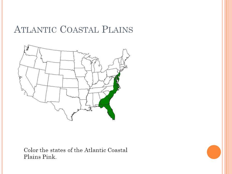 A TLANTIC C OASTAL P LAINS Color the states of the Atlantic Coastal Plains Pink.