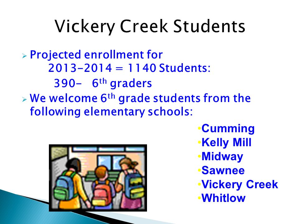 Projected enrollment for 2013-2014 = 1140 Students: 390- 6 th graders We welcome 6 th grade students from the following elementary schools: Cumming Ke