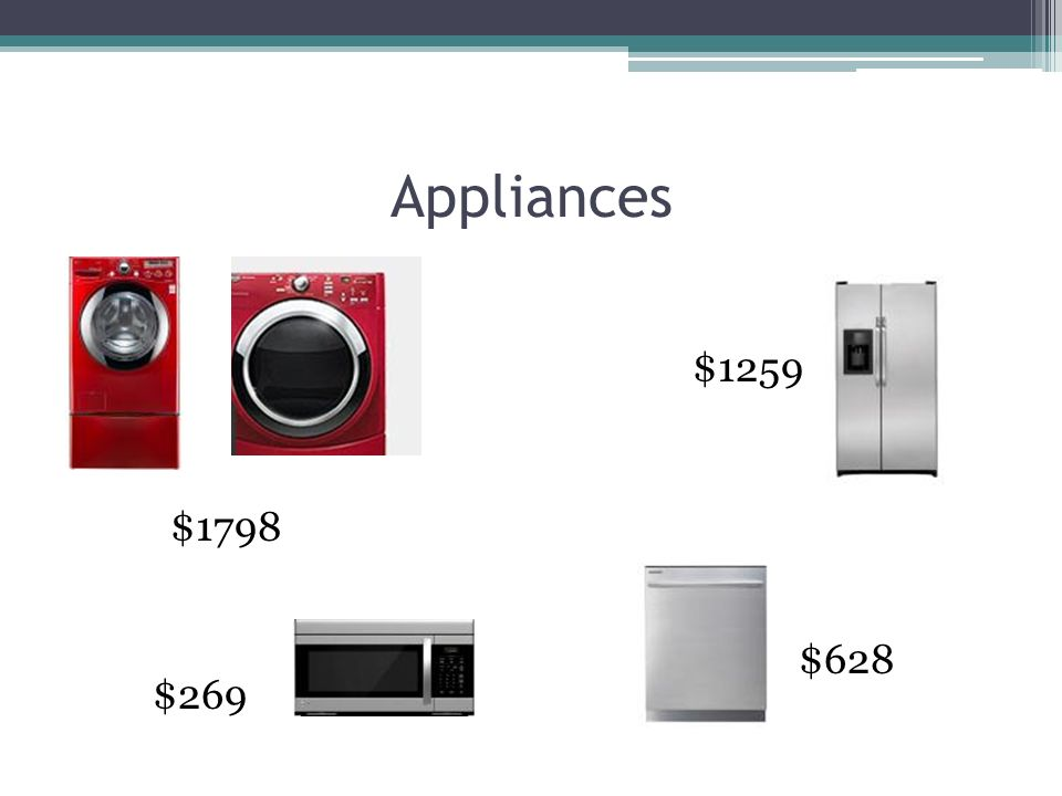 Appliances $1798 $269 $1259 $628