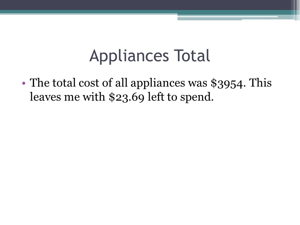 Appliances Total The total cost of all appliances was $3954. This leaves me with $23.69 left to spend.