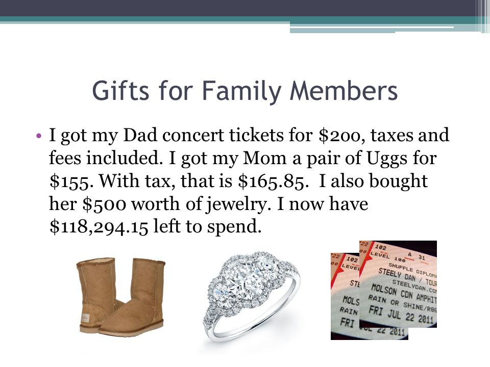 Gifts for Family Members I got my Dad concert tickets for $2oo, taxes and fees included. I got my Mom a pair of Uggs for $155. With tax, that is $165.
