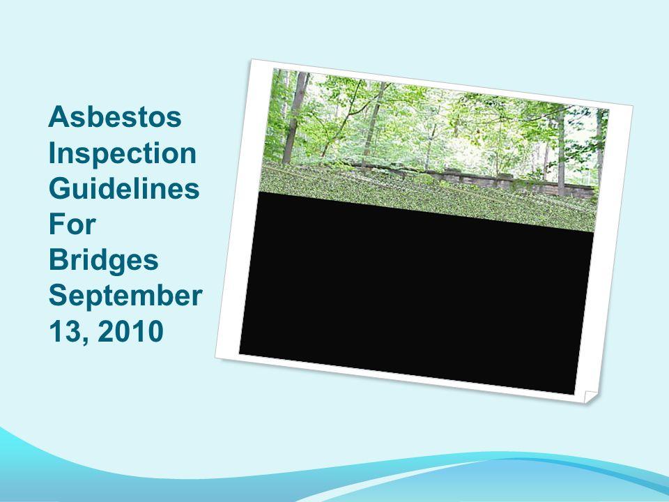 Asbestos Inspection Guidelines For Bridges September 13, 2010