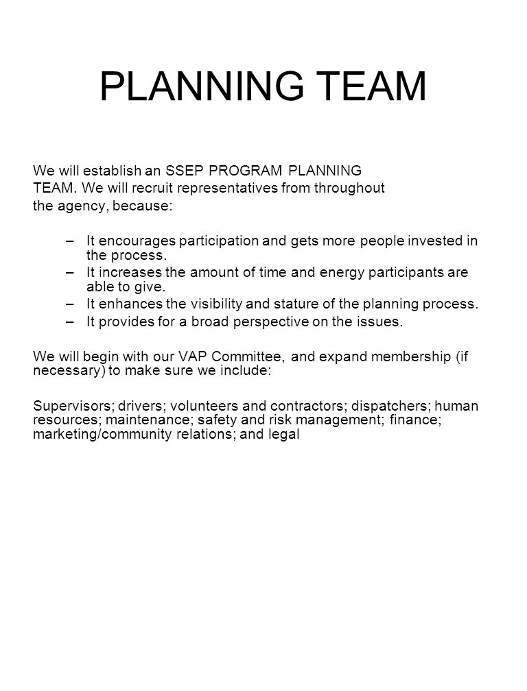 PLANNING TEAM We will establish an SSEP PROGRAM PLANNING TEAM. We will recruit representatives from throughout the agency, because: –It encourages par