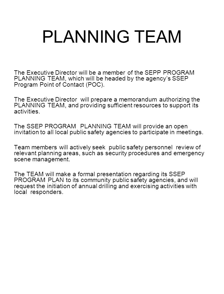 PLANNING TEAM The Executive Director will be a member of the SEPP PROGRAM PLANNING TEAM, which will be headed by the agencys SSEP Program Point of Con