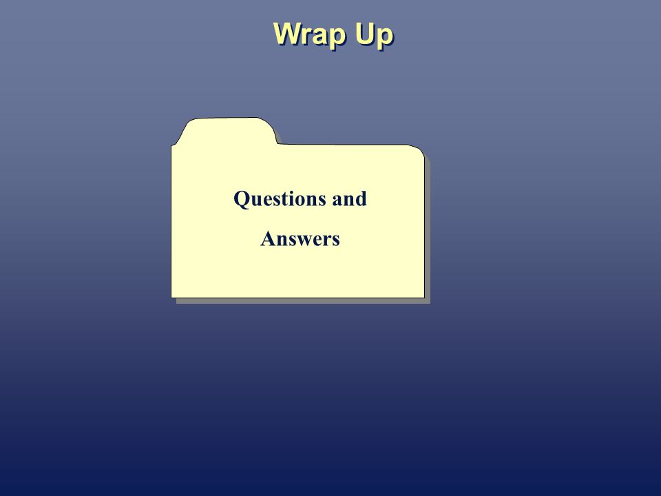 Wrap Up Questions and Answers