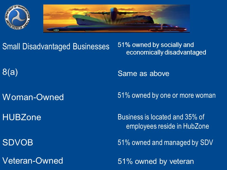 Small Disadvantaged Businesses 8(a) Woman-Owned HUBZone SDVOB Veteran-Owned 51% owned by socially and economically disadvantaged Same as above 51% own