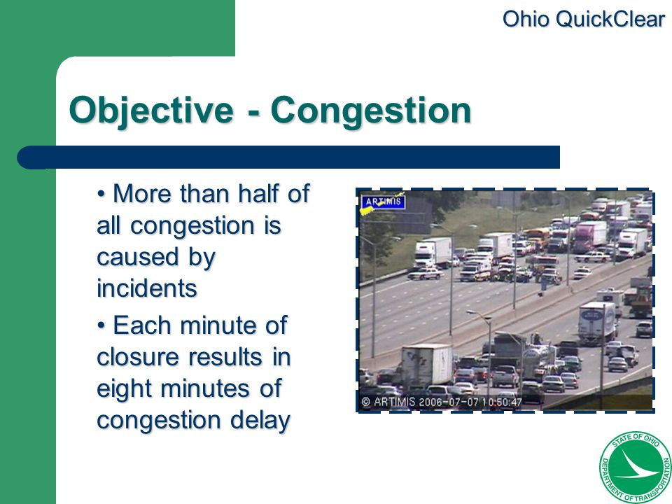 Ohio QuickClear Objective - Congestion More than half of all congestion is caused by incidents More than half of all congestion is caused by incidents