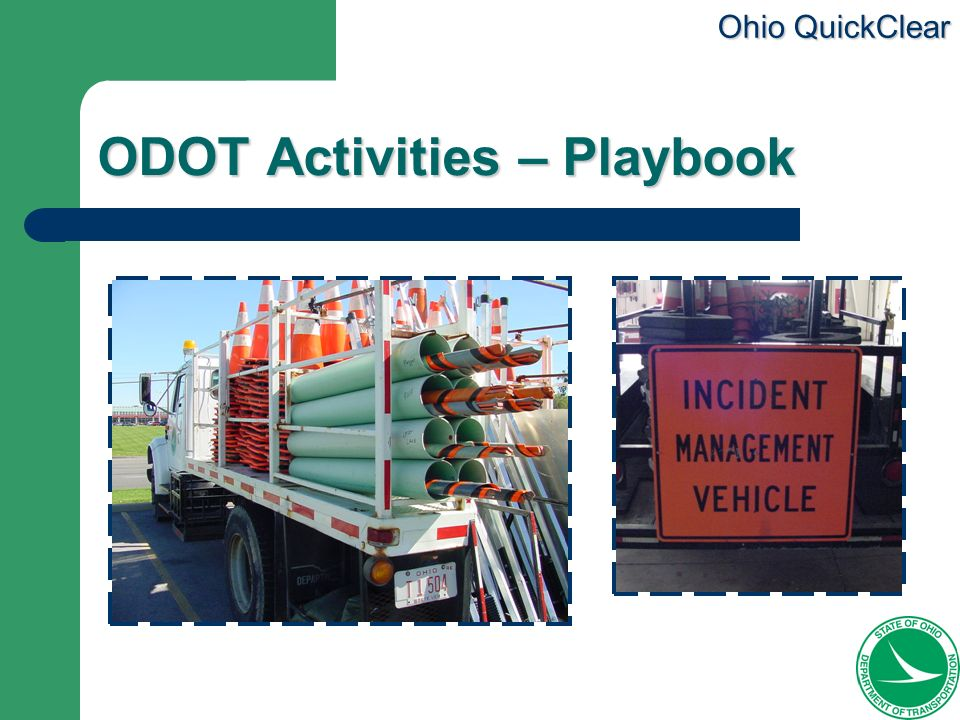 Ohio QuickClear ODOT Activities – Playbook