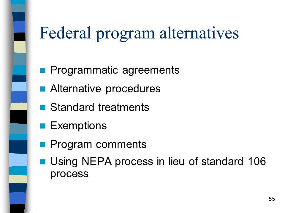 55 Federal program alternatives Programmatic agreements Alternative procedures Standard treatments Exemptions Program comments Using NEPA process in l
