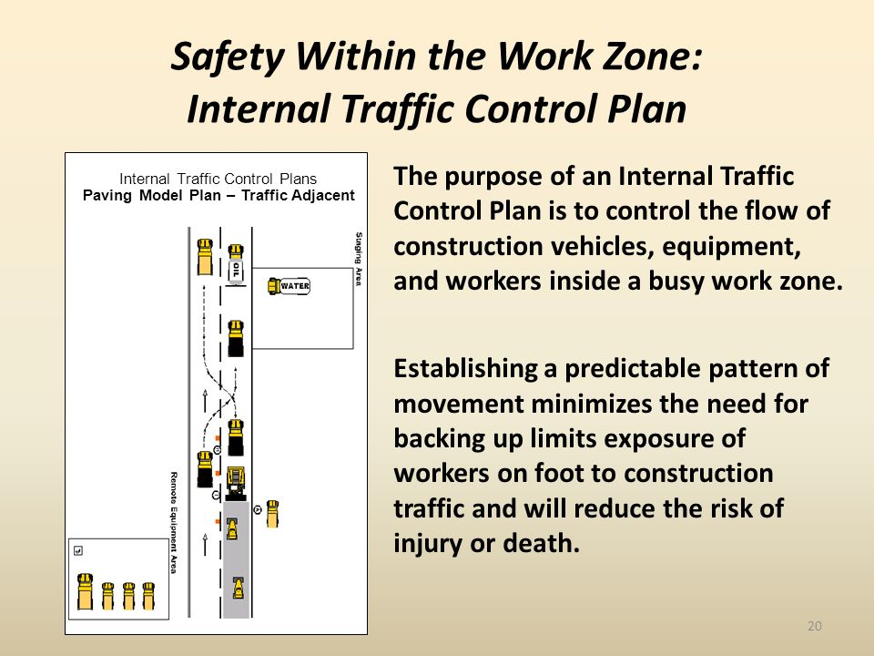 The purpose of an Internal Traffic Control Plan is to control the flow of construction vehicles, equipment, and workers inside a busy work zone.
