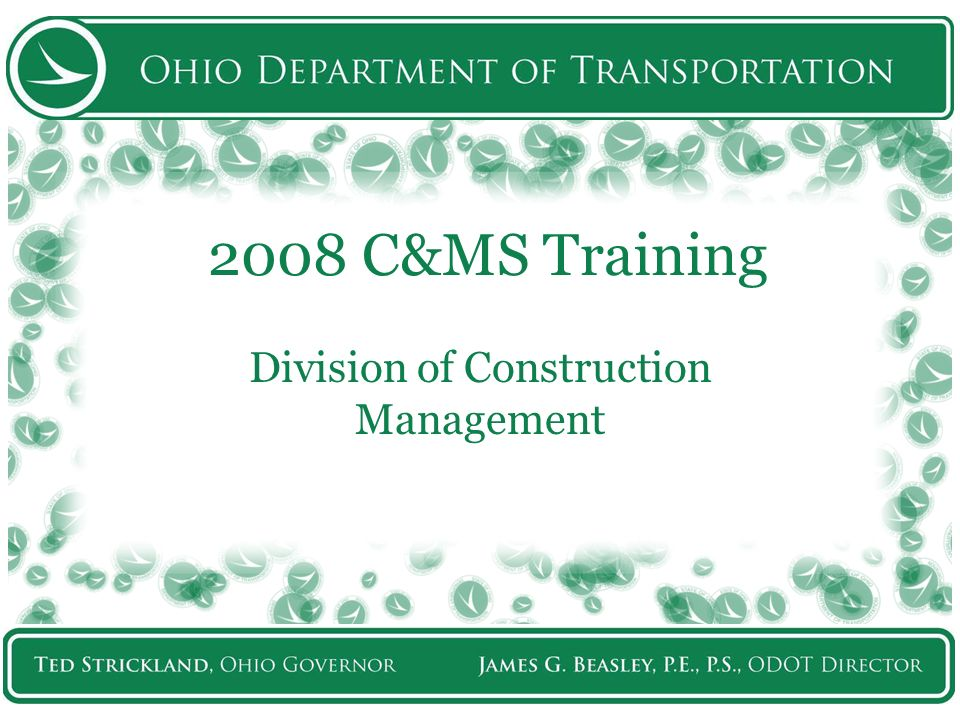 2008 Specification Training The New 2008 C&MS.