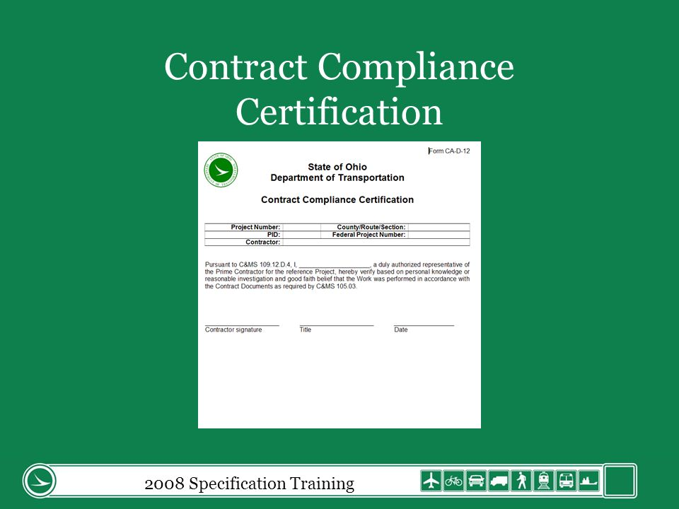 2008 Specification Training Contract Compliance Certification