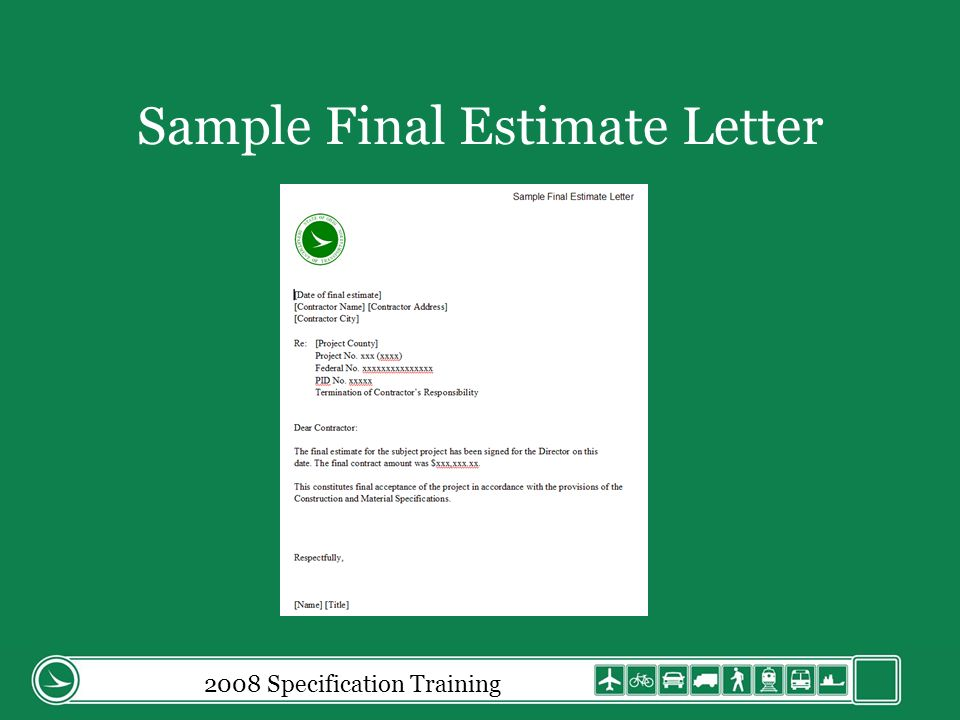 2008 Specification Training Sample Final Estimate Letter