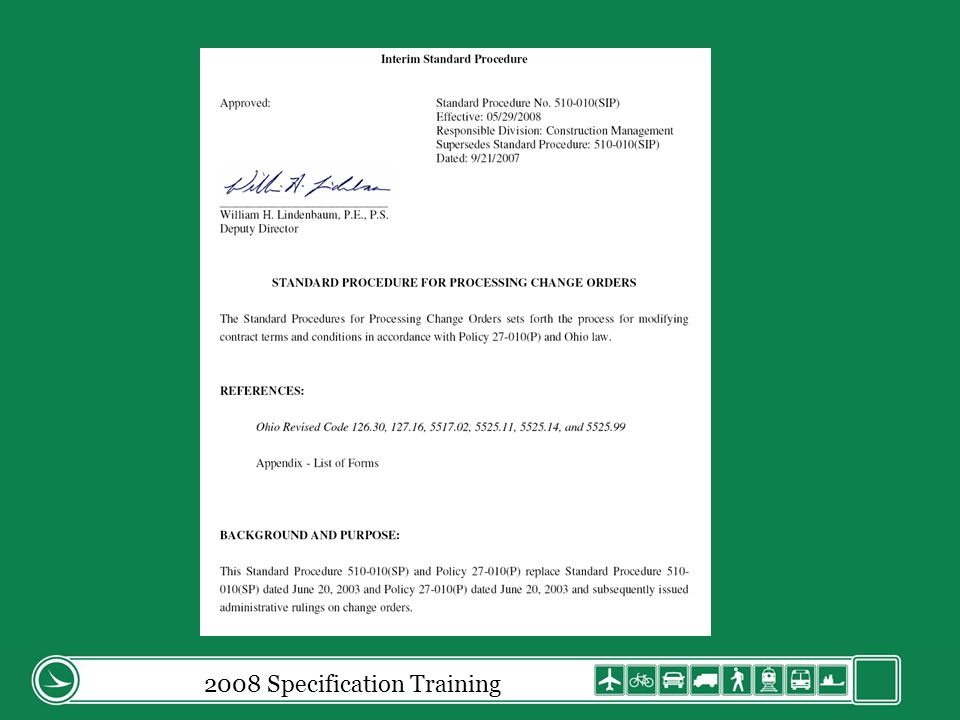 2008 Specification Training Progress Payment Certification