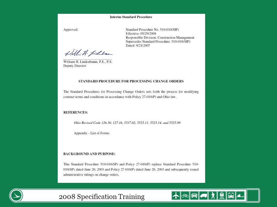 2008 Specification Training 109.05.C.2.e Labor (cont) Revised language: Labor.