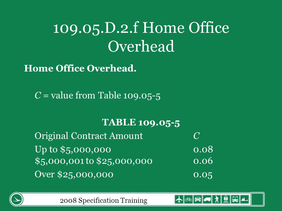 2008 Specification Training 109.05.D.2.f Home Office Overhead Home Office Overhead.