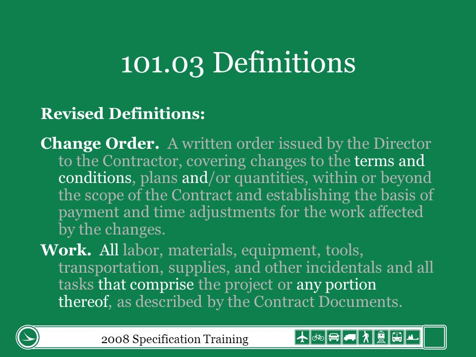 2008 Specification Training 109.05.A Extra Work A.
