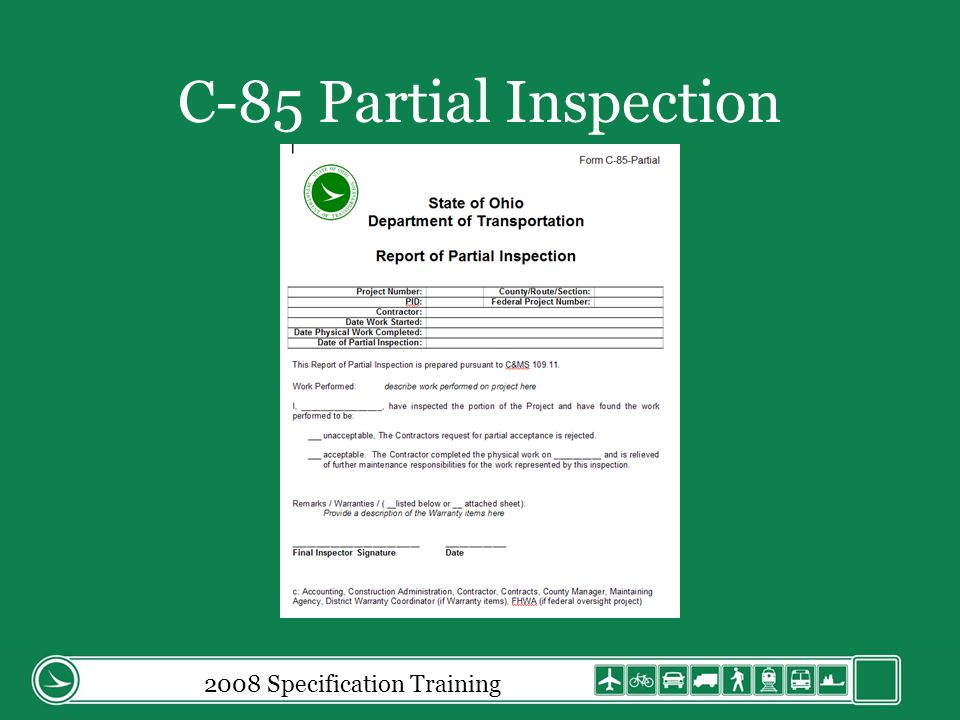 C-85 Partial Inspection
