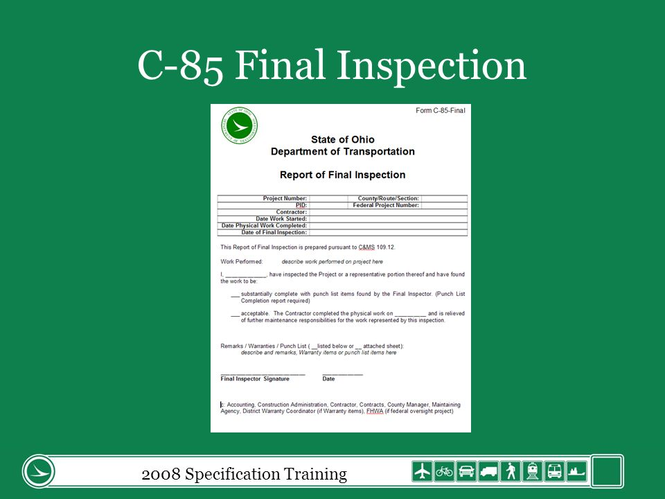 2008 Specification Training C-85 Final Inspection