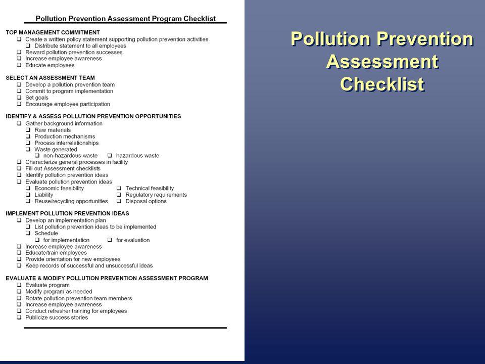 Pollution Prevention Assessment Checklist