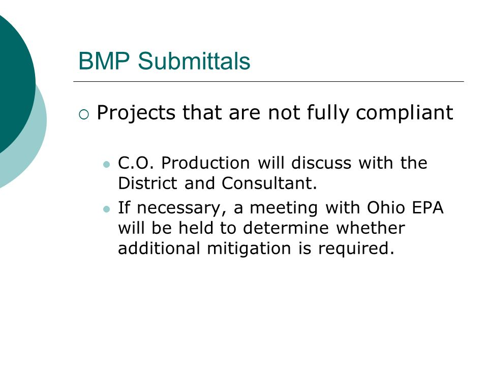BMP Submittals Projects that are not fully compliant C.O.