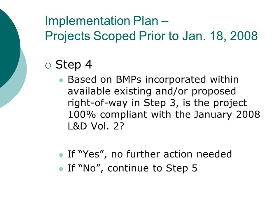 Implementation Plan – Projects Scoped Prior to Jan.