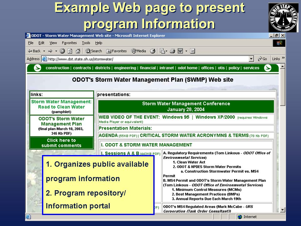 Example Web page to present program Information 1.