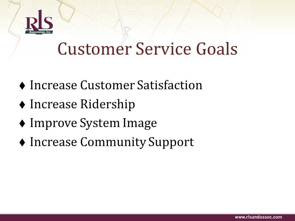 Customer Service Goals Increase Customer Satisfaction Increase Ridership Improve System Image Increase Community Support