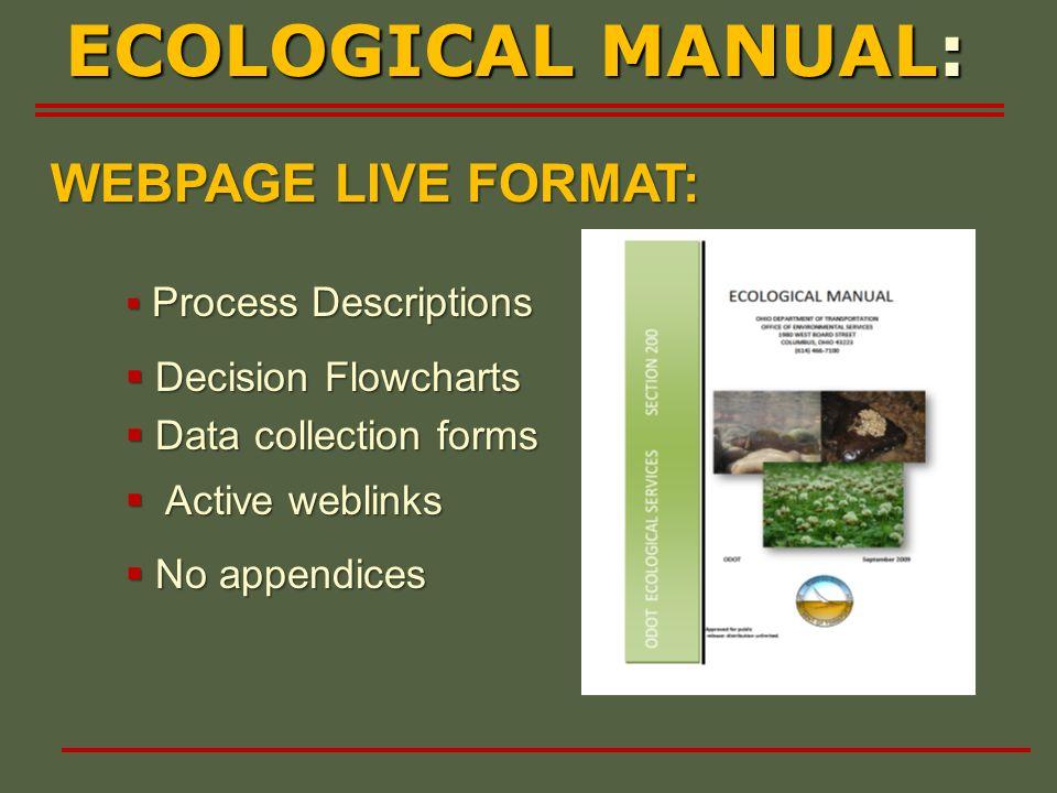 WEBPAGE LIVE FORMAT: ECOLOGICAL MANUAL: Process Descriptions Process Descriptions Decision Flowcharts Decision Flowcharts Data collection forms Data c