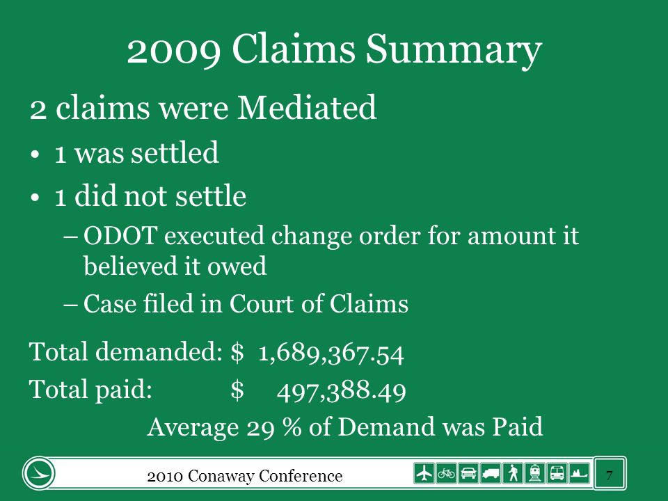 2009 Claims Summary 2 claims were Mediated 1 was settled 1 did not settle –ODOT executed change order for amount it believed it owed –Case filed in Court of Claims Total demanded:$ 1,689,367.54 Total paid:$ 497,388.49 Average 29 % of Demand was Paid 2010 Conaway Conference 7