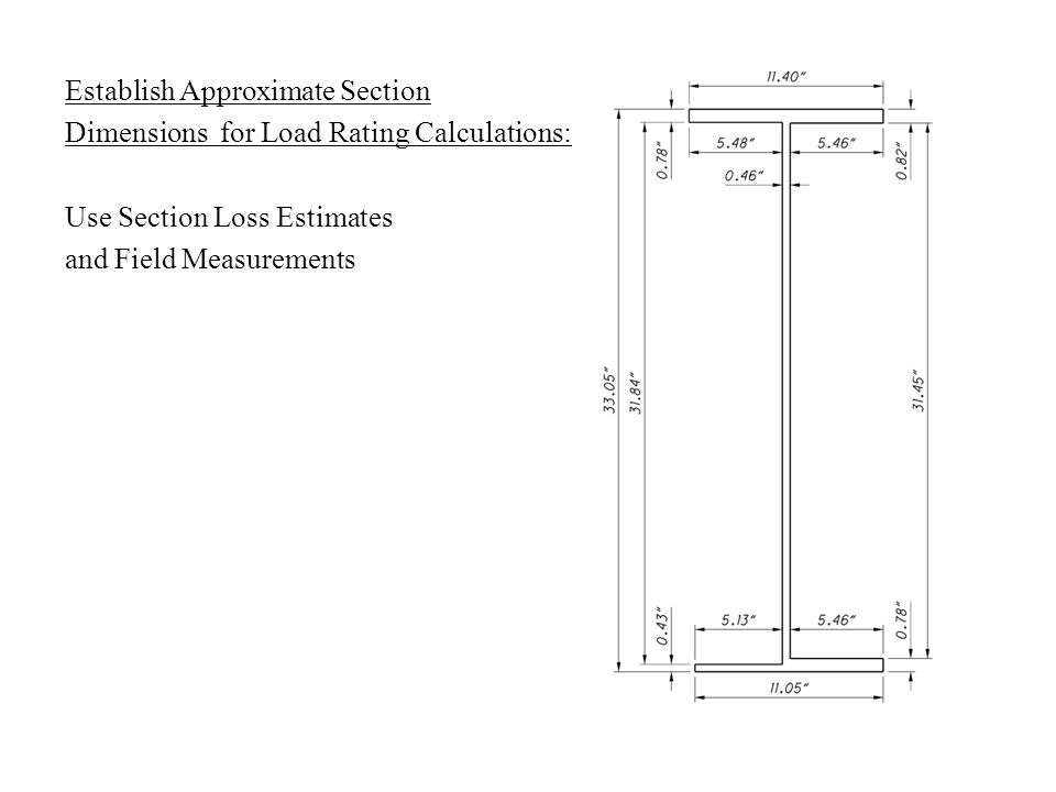Establish Approximate Section Dimensions for Load Rating Calculations: Use Section Loss Estimates and Field Measurements
