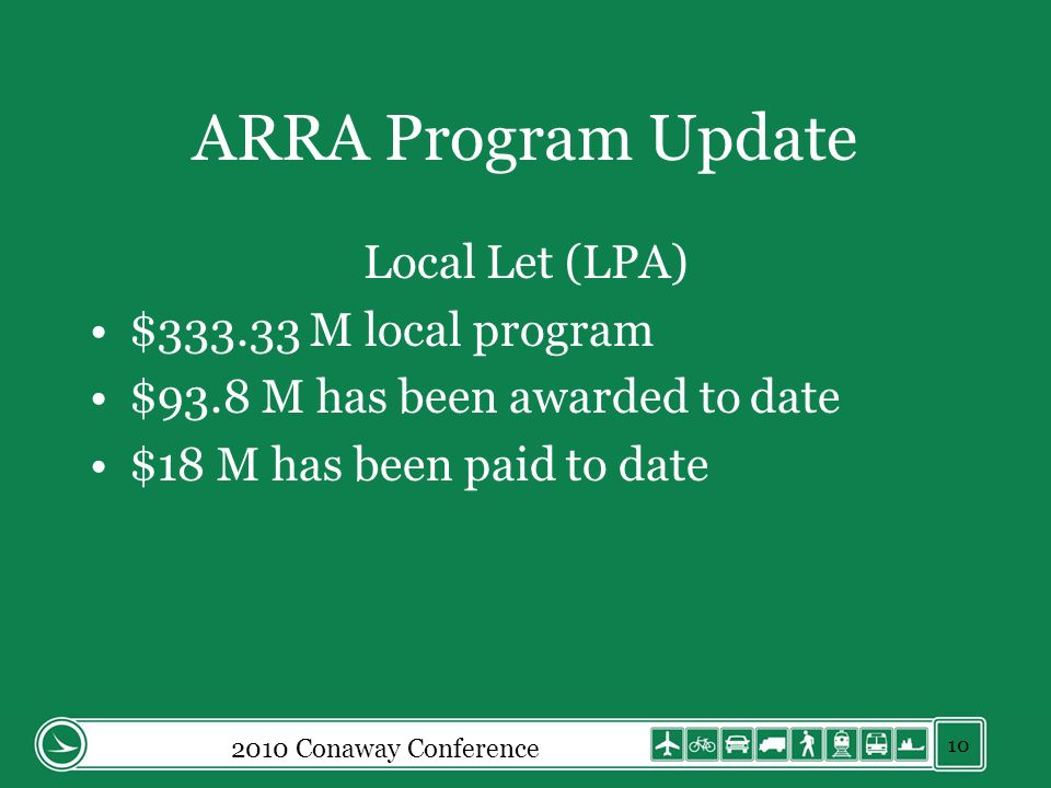 ARRA Program Update Local Let (LPA) $333.33 M local program $93.8 M has been awarded to date $18 M has been paid to date 2010 Conaway Conference 10