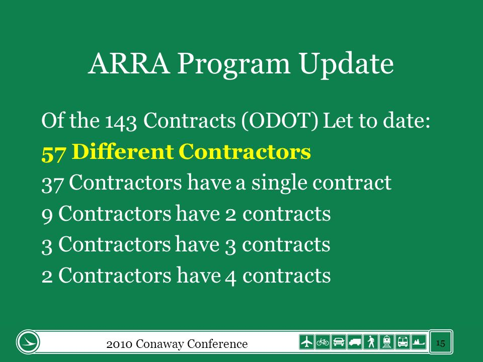 ARRA Program Update Of the 143 Contracts (ODOT) Let to date: 57 Different Contractors 37 Contractors have a single contract 9 Contractors have 2 contracts 3 Contractors have 3 contracts 2 Contractors have 4 contracts 2010 Conaway Conference 15