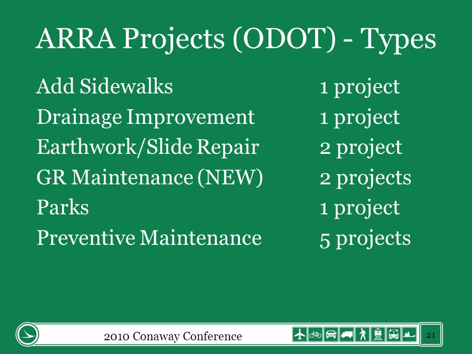 ARRA Projects (ODOT) - Types Add Sidewalks1 project Drainage Improvement1 project Earthwork/Slide Repair2 project GR Maintenance (NEW)2 projects Parks