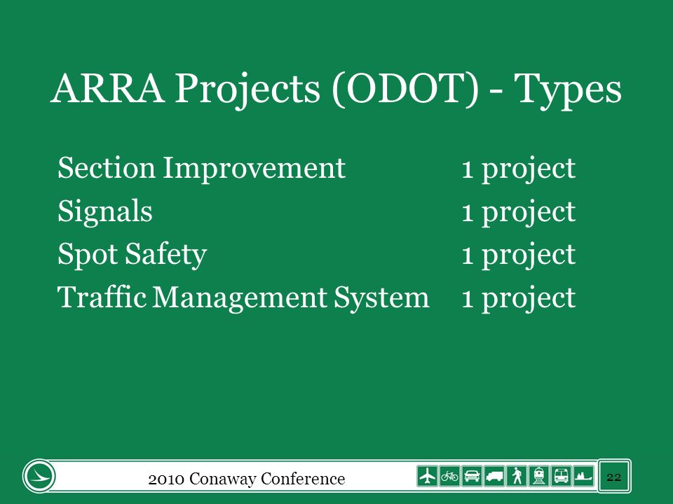 ARRA Projects (ODOT) - Types Section Improvement1 project Signals1 project Spot Safety1 project Traffic Management System1 project 2010 Conaway Confer