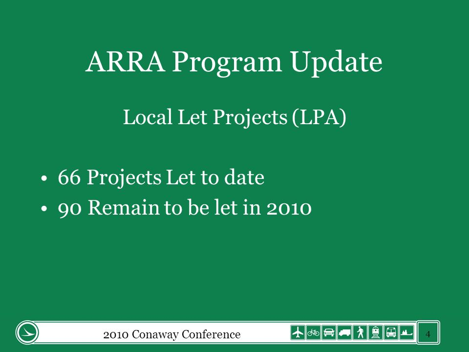 ARRA Program Update Local Let Projects (LPA) 66 Projects Let to date 90 Remain to be let in 2010 2010 Conaway Conference 4