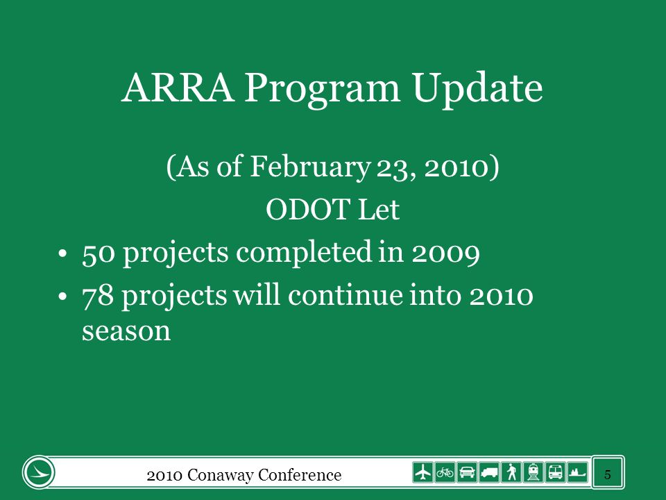 ARRA Program Update (As of February 23, 2010) ODOT Let 50 projects completed in 2009 78 projects will continue into 2010 season 2010 Conaway Conferenc