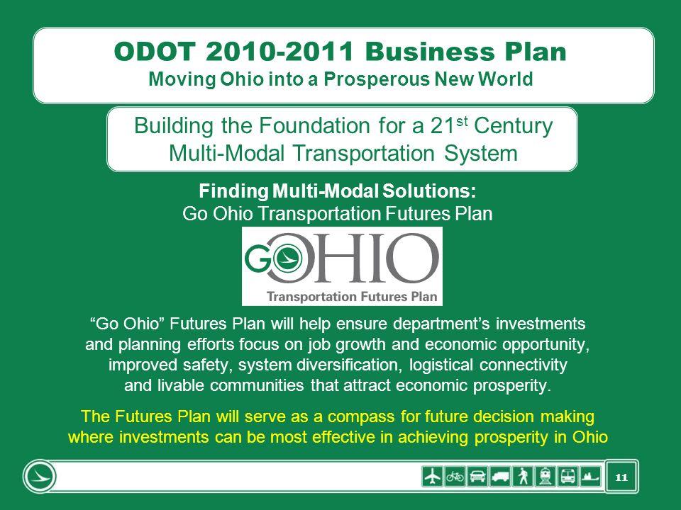 11 ODOT 2010-2011 Business Plan Moving Ohio into a Prosperous New World Finding Multi-Modal Solutions: Go Ohio Transportation Futures Plan Go Ohio Fut