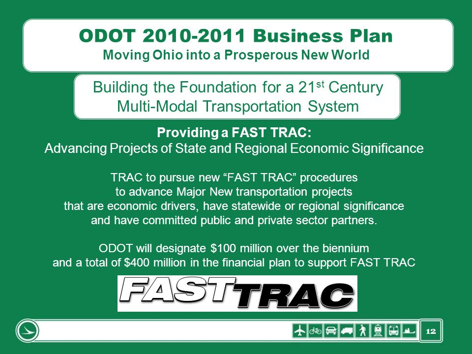 12 ODOT 2010-2011 Business Plan Moving Ohio into a Prosperous New World Providing a FAST TRAC: Advancing Projects of State and Regional Economic Signi