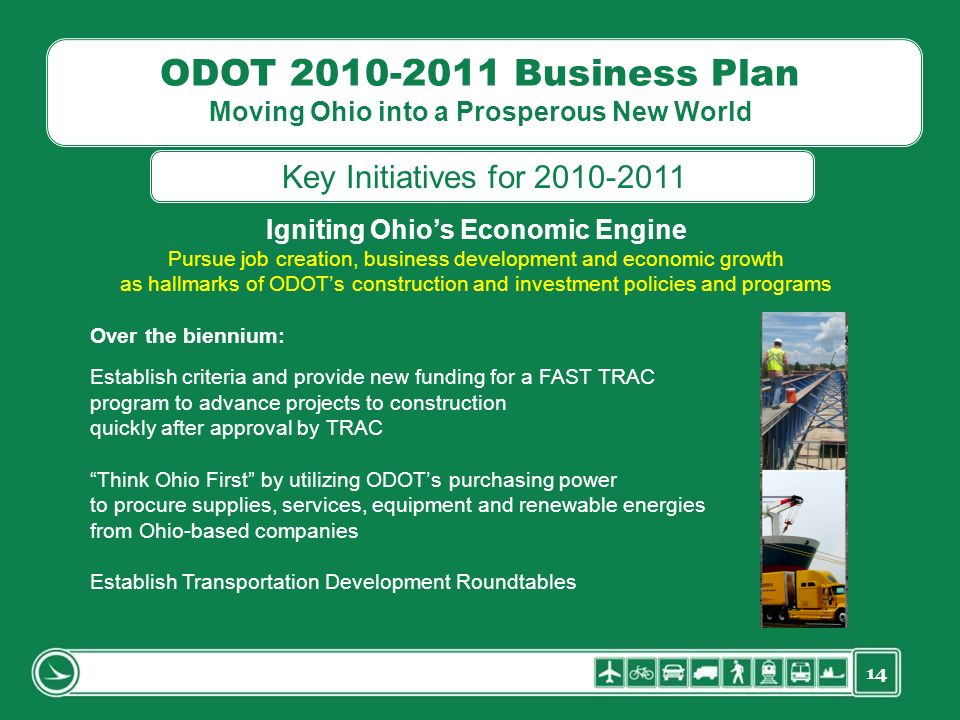 14 ODOT 2010-2011 Business Plan Moving Ohio into a Prosperous New World Igniting Ohios Economic Engine Pursue job creation, business development and e