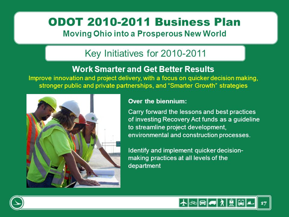 17 ODOT 2010-2011 Business Plan Moving Ohio into a Prosperous New World Work Smarter and Get Better Results Improve innovation and project delivery, with a focus on quicker decision making, stronger public and private partnerships, and Smarter Growth strategies Over the biennium: Carry forward the lessons and best practices of investing Recovery Act funds as a guideline to streamline project development, environmental and construction processes.