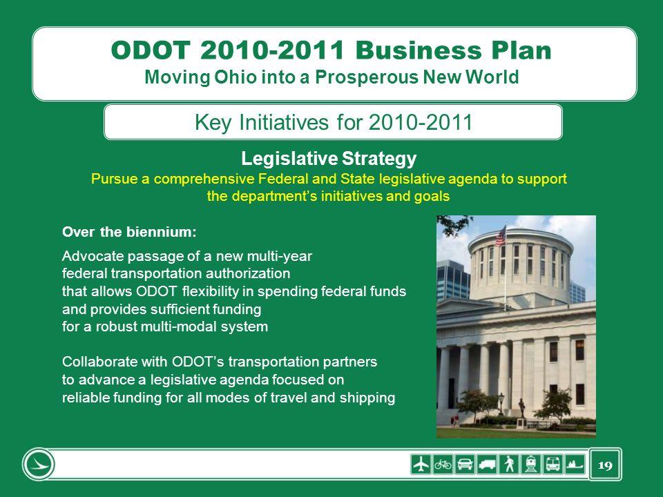19 ODOT 2010-2011 Business Plan Moving Ohio into a Prosperous New World Legislative Strategy Pursue a comprehensive Federal and State legislative agen