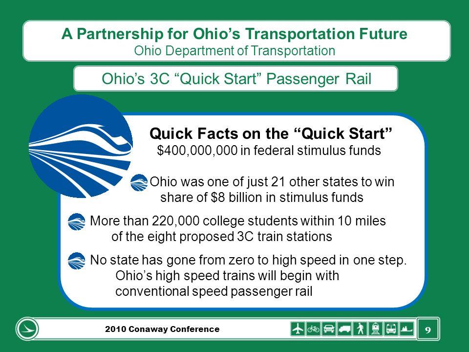 9 A Partnership for Ohios Transportation Future Ohio Department of Transportation Ohios 3C Quick Start Passenger Rail 2010 Conaway Conference Quick Fa