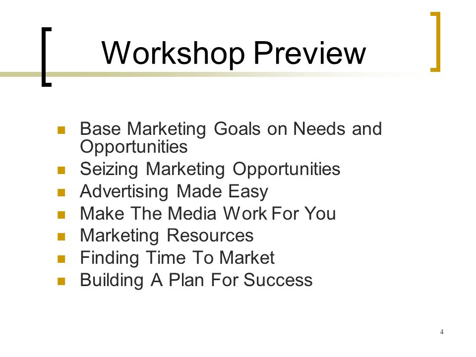 5 Section 1 – Base Marketing Goals on Needs and Opportunities Your Service Is Your Product You and Your Team Are The Sales and Marketing Agents For The Product Understand Who Your Customers Are (and Arent) Find Out What Your Customers Think and Why Implement Marketing Activities Based on Needs and Opportunities