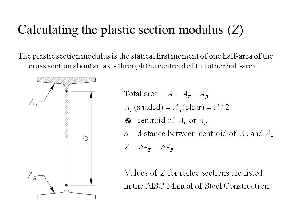 Calculating the plastic section modulus (Z) The plastic section modulus is the statical first moment of one half-area of the cross section about an ax