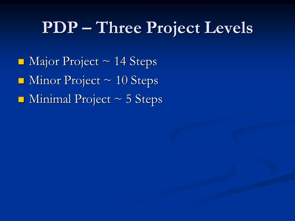 PDP - Major Project Level Major Investment Study Major Investment Study New interchange New interchange Multiple alternatives Multiple alternatives Corridor type projects Corridor type projects Large amounts of ROW Large amounts of ROW Highway on new location Highway on new location