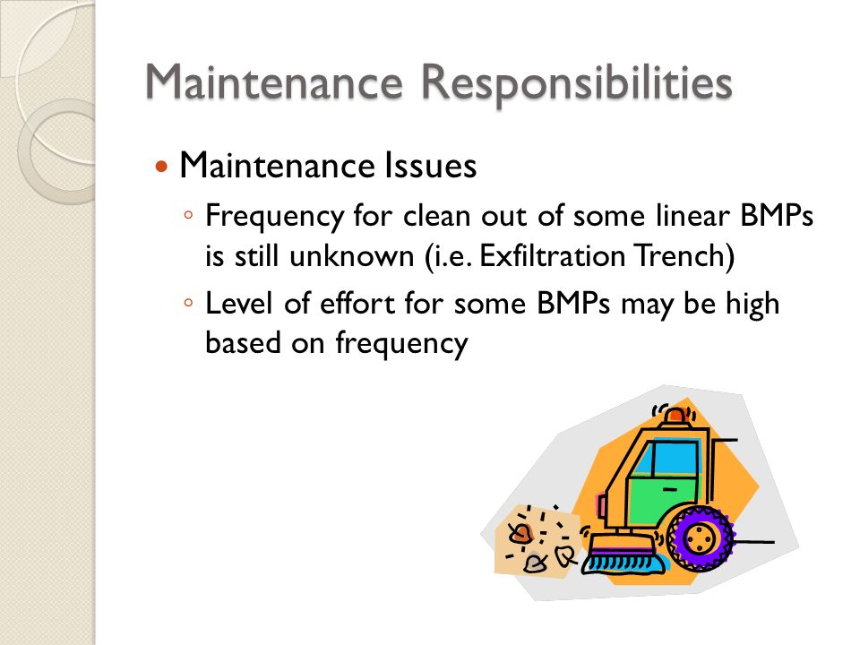 Maintenance Responsibilities Maintenance Issues Frequency for clean out of some linear BMPs is still unknown (i.e. Exfiltration Trench) Level of effor