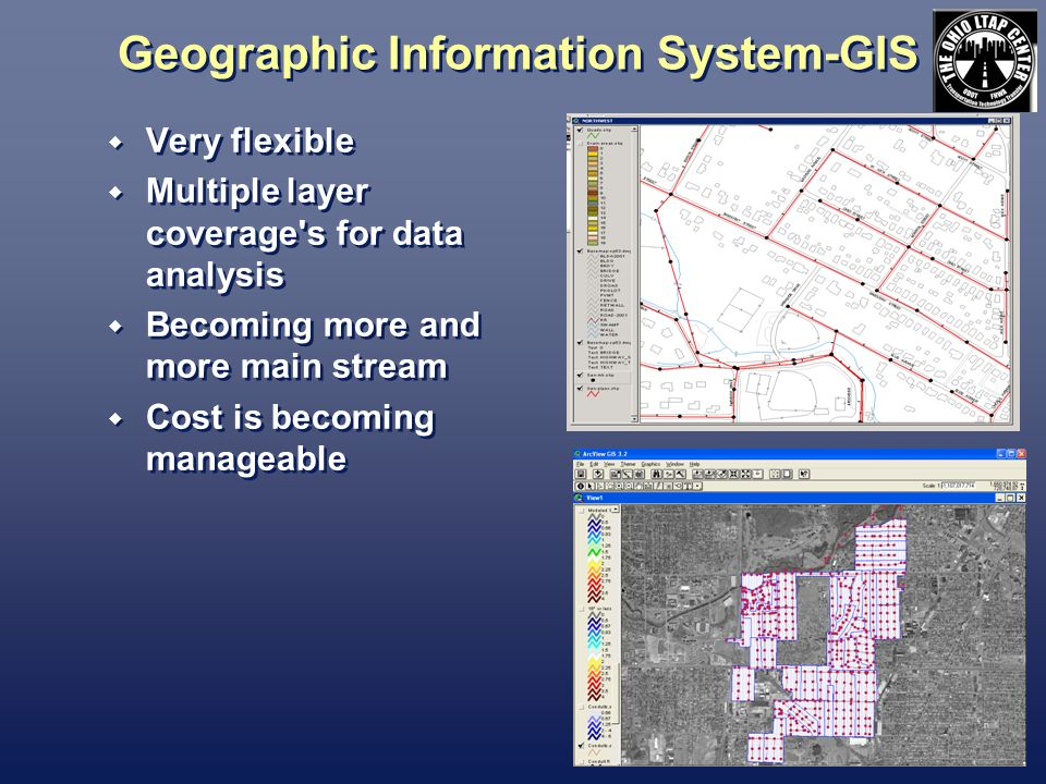 Geographic Information System-GIS Very flexible Multiple layer coverage s for data analysis Becoming more and more main stream Cost is becoming manageable Very flexible Multiple layer coverage s for data analysis Becoming more and more main stream Cost is becoming manageable