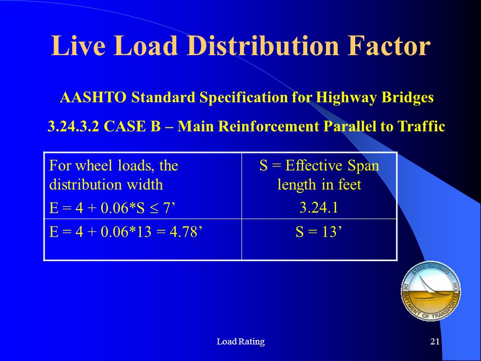 Load Rating21 AASHTO Standard Specification for Highway Bridges 3.24.3.2 CASE B – Main Reinforcement Parallel to Traffic For wheel loads, the distribu